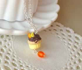 Cupcake necklace for kids, in yellow, brown and orange, polymer clay, girl jewelry