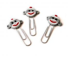 Gray Sock Monkey Face PaperClip Bookmarks Set of 3 Handmade in Polymer Clay