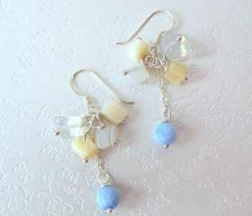 Fair Lady at the Beach Earrings - 925 Silver, Moonstone, Blue Agate, Shell Pearl