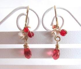 Dancing Red Fairies Earrings-Fresh Water Pearls, Swarovski Briolettes, 14K Gold