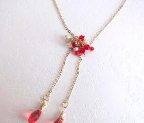 Dancing Red Fairies Necklace-Fresh Water Pearls, Swarovski Briolettes, 14K Gold Plated Chain