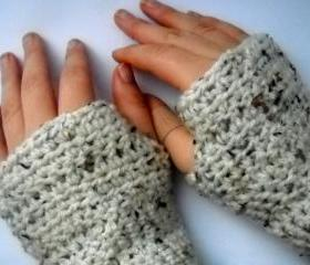 Crochet Gloves Fingerless Cream Fleck Arcylic Yarn - Made To Order