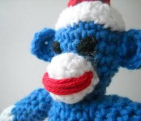 Sock Monkey toy Mini Crochet 7 Inches