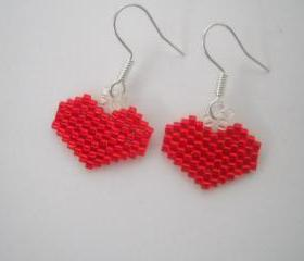 Valentines Day Heart Earrings Delica Beads