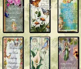 Digital Images Collage Sheet - Clip Art Elements- Digital Scrapbooking- 'Psalm 62' Gift Tag