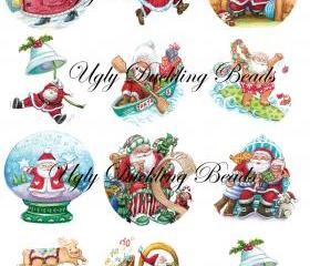 Digital Images Collage Sheet - Clip Art Elements- Digital Scrapbooking- 'It's All About Santa'
