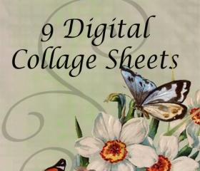 Digital Collage Sheet - Clip Art Elements- Digital Scrapbooking-Best Deal- Choose 9 Collage Sheets