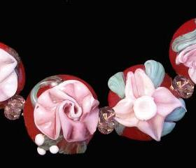 Lampwork, Glass Beads, Flowers, Bracelet Set- 4 Glass Beads- 'Vintage Flower Medley' -SRA