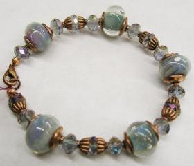 Lampwork Glass Bracelet- 'Ocean Blue' SRA