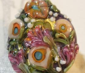 Lampwork Bead - Pendant Focal- 'Field of Dreams' Floral Bead SRA