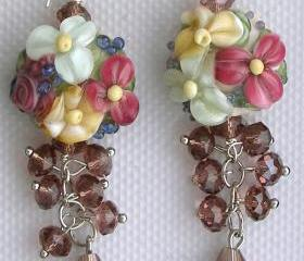 Lampwork Earrings, Handmade Glass Beads, 'Dazzling Dangles-Pink'