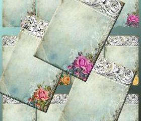 Digital Collage Sheet - Clip Art Elements- Digital Scrapbooking-' Ornamentaea' Earring Cards