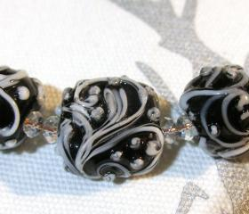 TRELLIS SWIRLS, White on Black - HandMade LampWork Glass Beads By Kathleen Robinson-Young (set of 5beads)