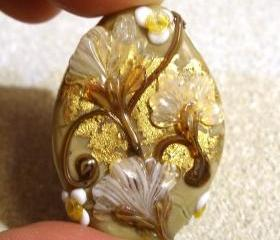 Lampwork Bead - Pendant Focal- 'Copper Canyon' Floral Bead SRA