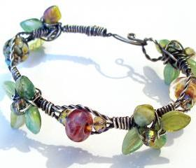 Wired Leaves and Beads Bracelet