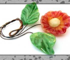 Soft Melon Color Lampwork Flower with 2 leaf set-SRA