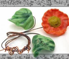 Graceful Orange Lampwork Flower with 2 Leaf Set-SRA