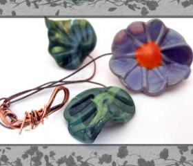 Purple Lampwork Flower with 2 leaf set-SRA