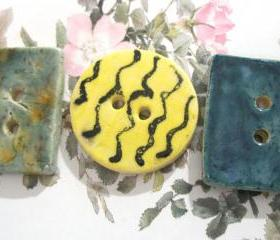 Large Button Trio- Handmade Ceramic Buttons (3) SRA