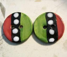 Handmade Ceramic Buttons- 2 buttons
