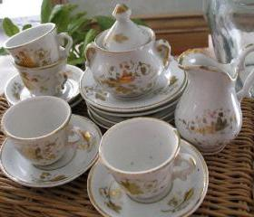 Vintage Victorian Child's Doll Porcelain Tea Set