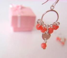 Heart Coral Earrings-925 Silver & Heart Charm, Coral Quartz