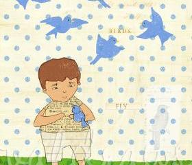 Boy holding bluebird on polka dot background Bluebirds 8 x 10 print
