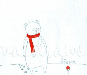 Bear art print Winter art print Bloom 8x10 print in white red and turquoise