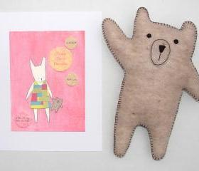 Personalized girl's nursery print with hand-stitched felt bear