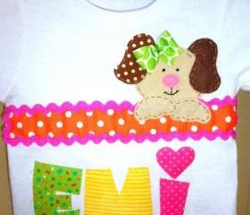 Toddler girl tshirt with cute puppy applique. Birthday girl tshirt.