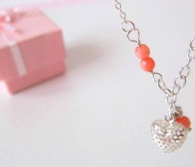 Heart Coral Necklace- 925 Silver & Coral Quartz