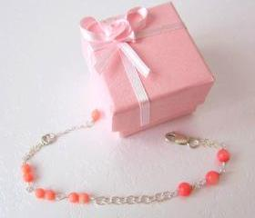 Heart Coral Bracelet- 925 Silver & Coral Quartz
