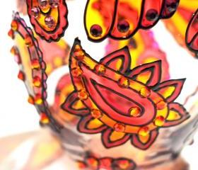 Hand Painted Glass Jar with Lid, Fireopal, Paisley