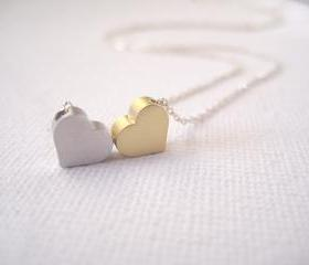 Sterling silver necklace with 2 tiny hearts - You & Me