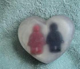 Valentine Soap - Mini Men Heart Soap - Fruit Rings Scent