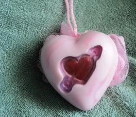 Heart Soap Scrubbie - Dream Angels Scent
