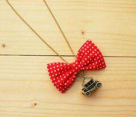 Bow Necklace, Red polka dot