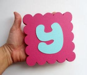 14 Valentine Day (5 inches) Scalloped Squares for banner in Hot Pink Textured Cardstock A28