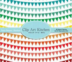 Party Banners Clip Art, Rainbow color set