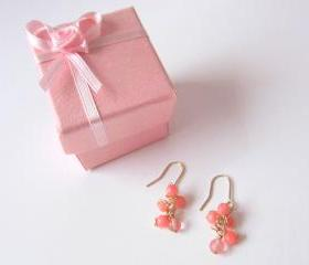 Dreamz Come True Earrings - 14K Gold, Pink Coral, Cherry Quartz