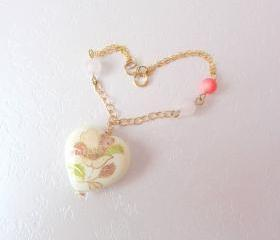 Dreamz Come True Bracelet -14K Gold, Rose Quartz, Pink Coral & Heart Charm