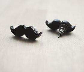 Moustache/Mustache Stud Earrings, Nickel Free, Black, Movember