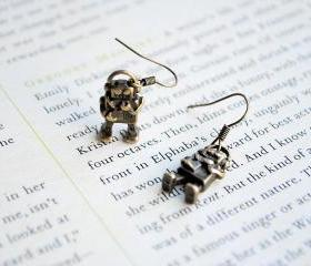 Robot Earrings, Dangle, Antique Gold, Geekery, Cute