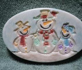 Three Jolly Snowmen Soap - Winter Candy Apple Scent