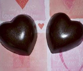 Heart Shaped Solid Chocolates for Romance/Valentine's Day Set of 6