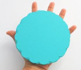 16 turquoise(5.0 inches) Scalloped Circles in Textured Cardstock A111