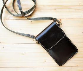 iPhone case, Leather bag with Strap, Black