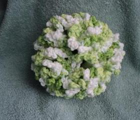 Lime Green and White Hair Scrunchie - crocheted