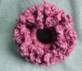 Raspberry Hair Scrunchie - crocheted