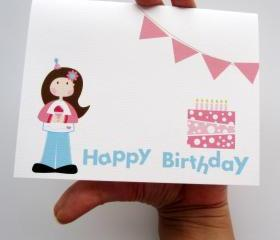 Happy Birthday, a Cute doll Birthday Party card A55